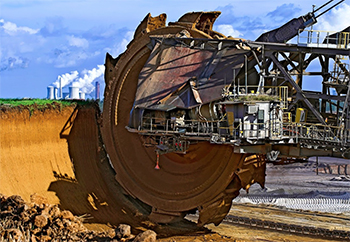 "Bagger 288, known as the largest nonstationary machine in the world, it removes ""overburden"" prior to coal mining in Tagebau, Germany; © Achim Blum"