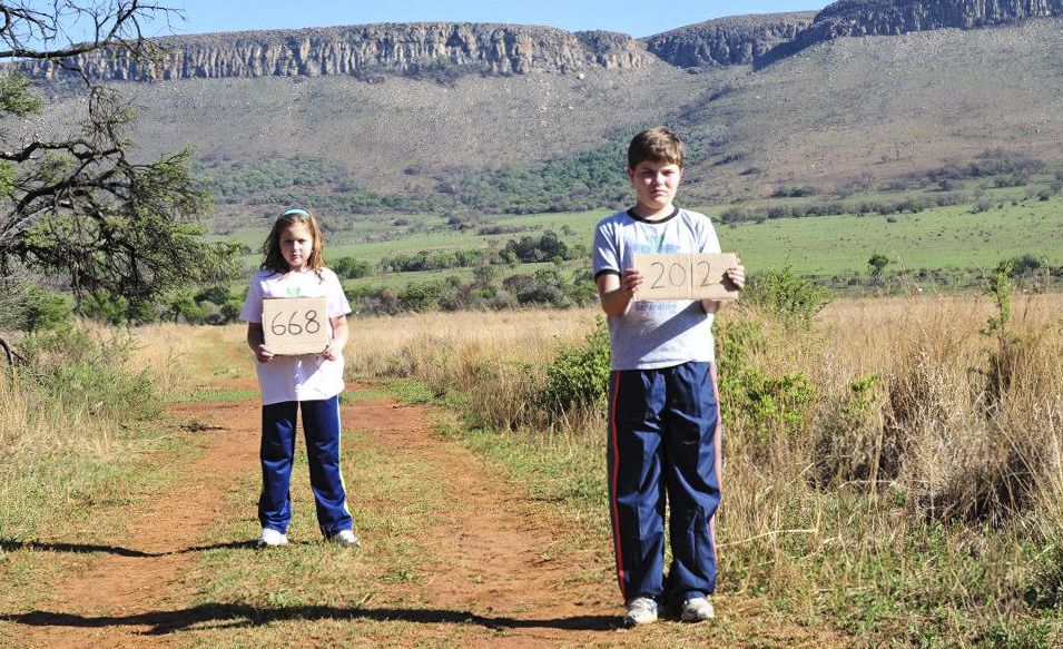 Olivia Ries and Carter Ries in the first scene of a documentary film. In 2012 668 rhinos were poached.