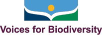 Voices for Biodiversity<br><font size=5 color=ffffff>Building a Diverse Story-Sharing Community to Save Biodiversity</font> Logo